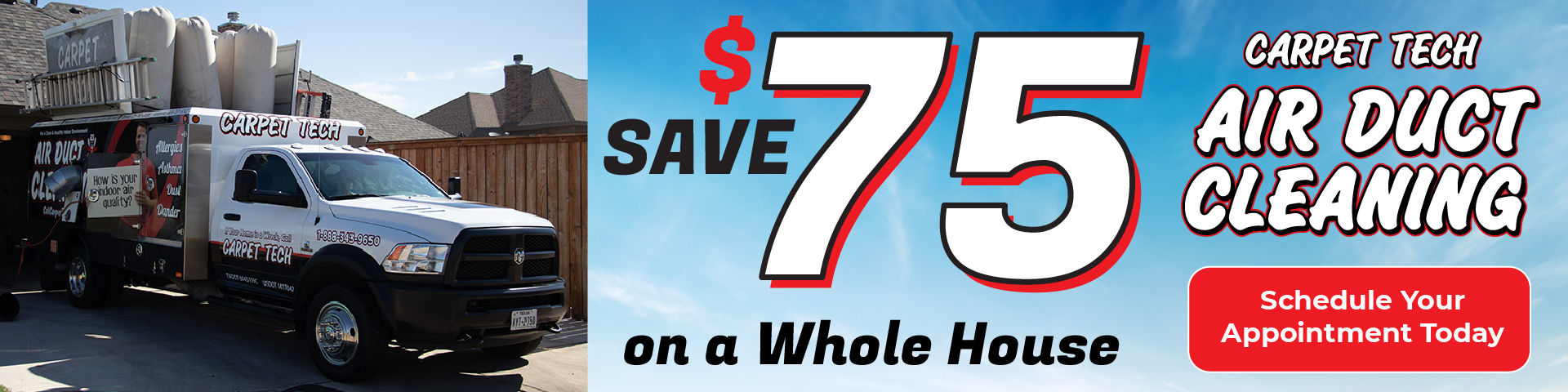 Save $75 on a Whole House Air Duct Cleaning
