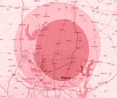 Plano Texas service area on map