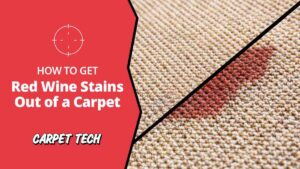 Carpet with removal of red wine stain